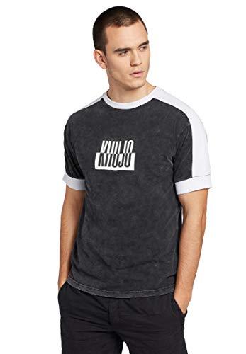khujo Herren T-Shirt Merlin Kurzarmshirt mit Streifen-Einsatz am Ärmel aus Baumwolle