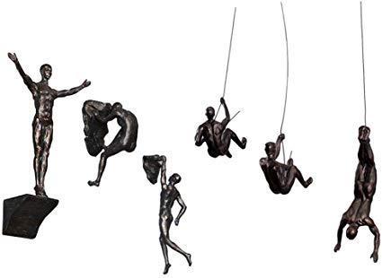 Haute Collage 6 figuras grandes de bronce para colgar montacargas colgantes juego de 6 figuras Climer Men Wallhanging escultura arte de pared resina y metal Bungee Jumping hombre colgado al alambre
