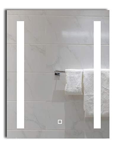 Dr. Fleischmann LED-beleuchteter Badezimmerspiegel Lichtspiegel Badspiegel Wandspiegel Tageslichtweiß Kaltweiß 6400K (50 x 70 cm mit Touch-Schalter)