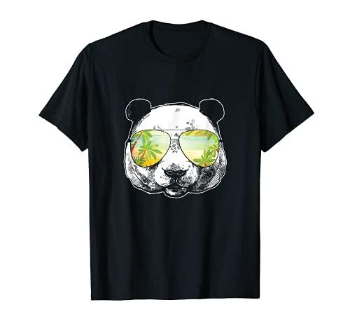 Cool Summer Vacation Panda Gafas Surfer Diver Camiseta