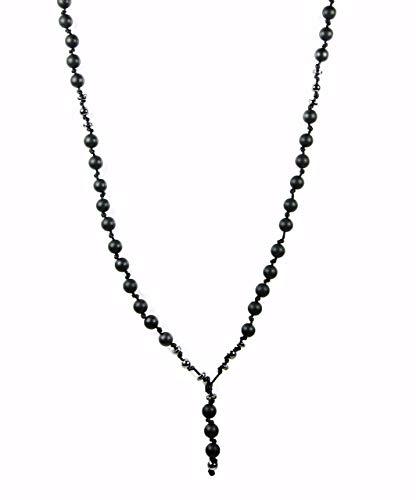 Halskette Perlen kette für Herren Männer Schwarz Rosenkranz Onyx Handmade Geschenke