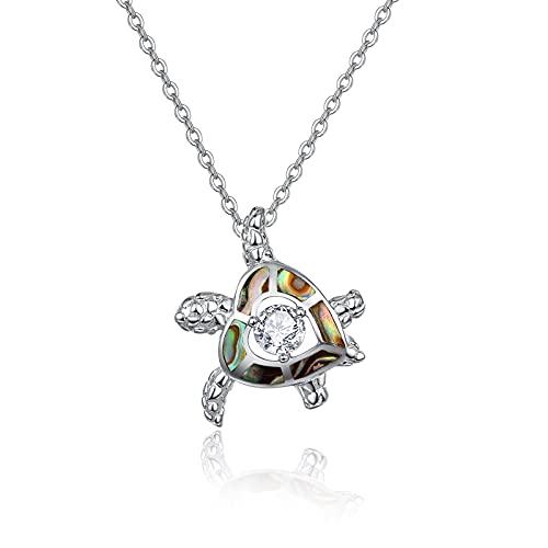 Collar de tortuga de plata de ley 925 con forma de corazón de abulón de mar, regalo de cumpleaños para mujeres y niñas