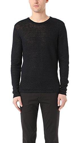Theory Men's Andrejs New Irish Linen Crew Sweater, Eclipse, Small