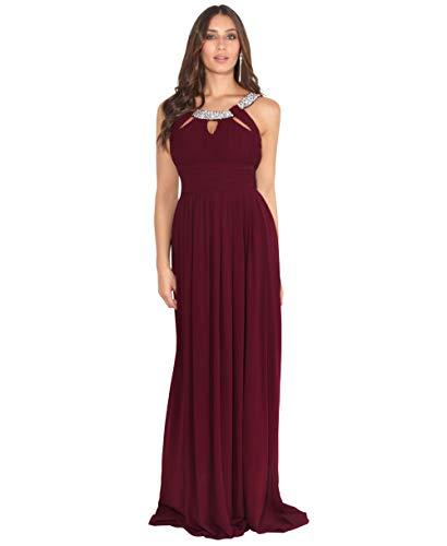 KRISP Damen Abendkleider Lang Chiffon Strasssteine Elegante Kleider, Weinrot (3577), M = EU 40, 3577-WIN-12