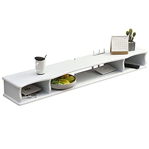 Mueble de TV de Pared con Estante Flotante, Mueble de TV de Consola Multimedia, Estante de DVD, Decodificador de Cable por SatéLite/Blanco / 120cm