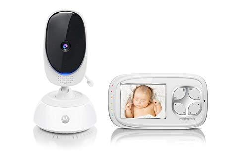 Motorola Comfort 35 Video-Babyphone mit Schwenk- und Zoomfunktion, 2.8 Zoll Farbdisplay, Nachtsicht, 2-Wege-Audio und Temperatursensor, 300m Reichweite, Weiß