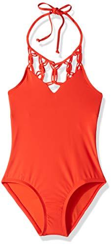 Hobie Girls' Big High Neck Halter One Piece Swimsuit, Watermelon//Solids, 12