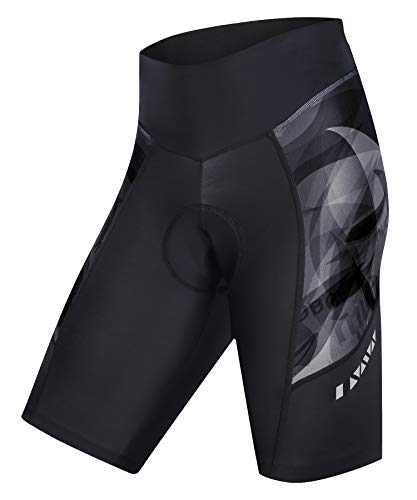 MUCUBAL Women's Bike Shorts with 3D Padded Compression Bicycle Shorts for Cycling(Black,L)