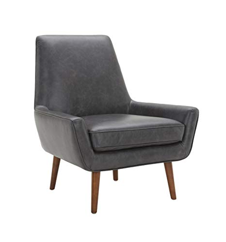 Amazon Brand – Rivet Jamie Leather Mid-Century Modern Low Arm Accent Chair, 31″W, Black
