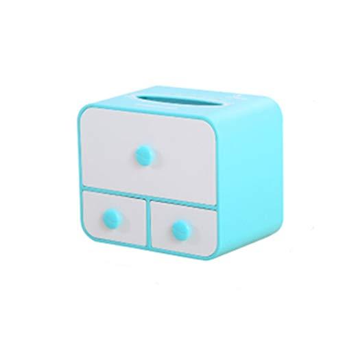 Creative multi-fonction boîte de tissu salon salle de bains plateau tiroir boîte de rangement boîte de rangement de bureau de maquillage (Couleur : Bleu, taille : A)