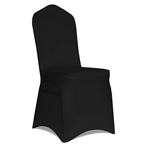 Kapwall Stuhlhussen aus Polyester, Spandex, Weiß, 12 Stück Schwarz