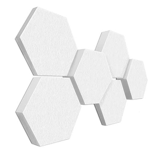 platino24 3D-Set Schallabsorber Colore aus Basotect G+ mit Akustikfilz, 6 Waben in Weiß je Ø30cm, Verbesserung der Raumakustik