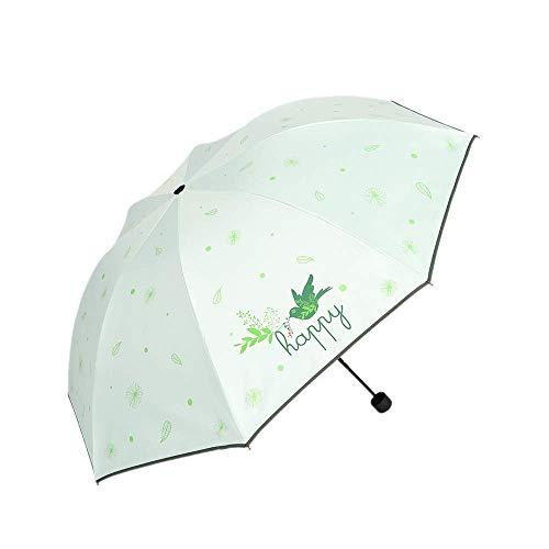 DZNOY Paraguas Plegables SUNUMBRELLA Sol Protector DE SOLUDAÑA Lluvia y Sol Triple Paraguas Plegable sombrilla (Color : Green)
