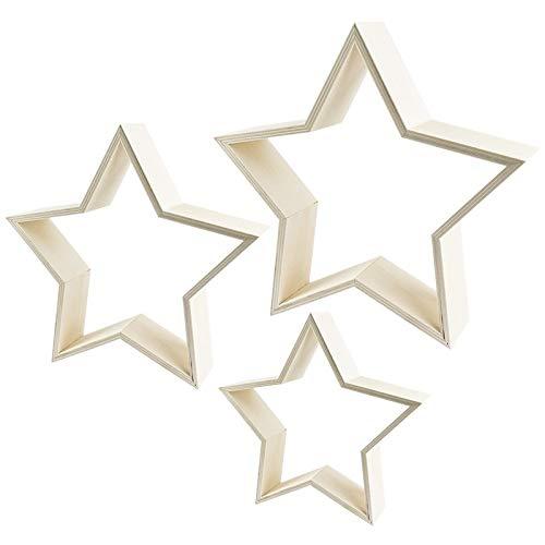 Sterne | Holzrahmen | In drei verschiedenen Größen | 3 Stück