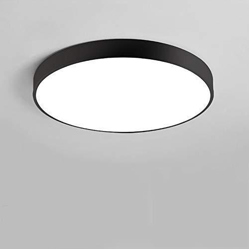 YJHome Plafón LED 30W Plafón redondo blanco natural 4000K cilíndrico ultrafino Ø40cm IP54 moderno para balcón, baño, cocina, dormitorio [Clase de eficiencia energética A +] (negro)