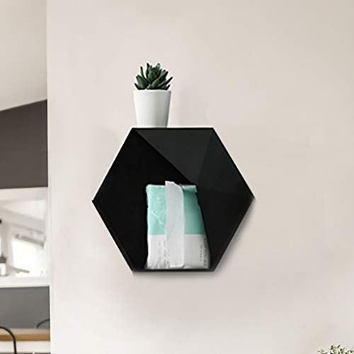 Sala de estar montado en la pared Geométrico sin perforación Decoración de pared Estante de almacenamiento Caja de almacenamiento (negro)