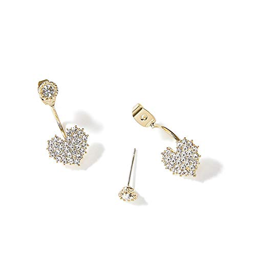 Heart-Shaped Stud Earrings Female Diamond Love Rose Gold Earrings Simple Crystal Earrings