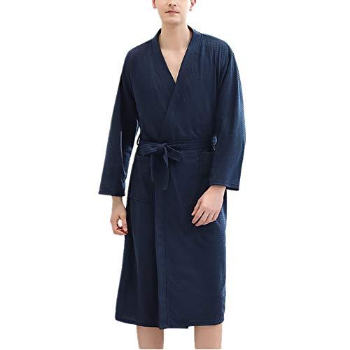 DUJUN Waffel-Bademantel für Herren, dünner Kimono für Herren, 2 Taschen, Gürtel - weicher, saugfähiger, komfortabler Dampfanzug für WellnesshotelsNavyM