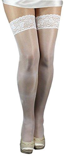 Unbekannt Lycra Plus Big Size glänzende halterlose Strümpfe Spitze 40 den (XL-XXL (5/6), weiß)