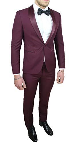 Abito Completo Uomo Sartoriale Bordeaux Raso Vestito Smoking Elegante Cerimonia (56)