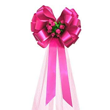 """Fuchsia Wedding Pull Bows with Tulle Tails and Rosebuds - 8"""" Wide, Set of 6"""