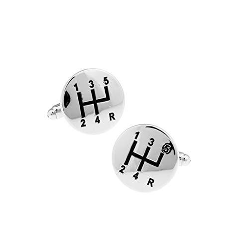 HSF Auto Manuelle Marker runde Schwarze Farbe White Steel Manschettenknöpfe Manschettenknöpfe Manschettenknöpfe