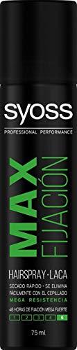 Syoss - Laca Max Fijación, Formato Mini, 12 uds de 75ml (900ml), 48h de fijación Mega Fuerte, Ayuda a proteger el pelo de la humedad y de los rayos solares, Cabello como recién salido de la pe