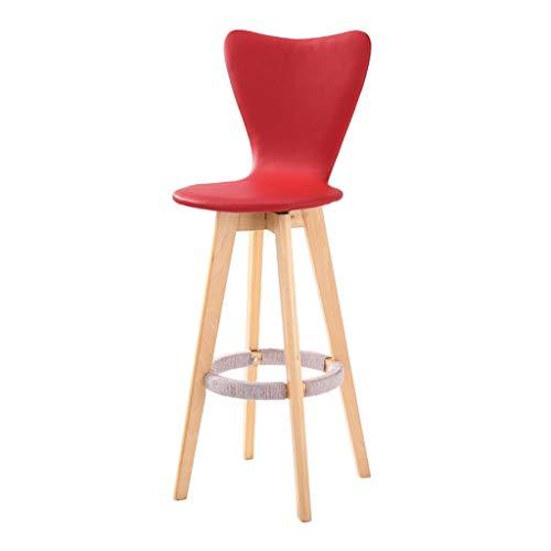 Barhocker Hausbar Massivholz-Stab-Stuhl Kreative Hochstuhl aus Holz Einfache Hoch Hocker (Color : Red, Size : Wooden Frame)