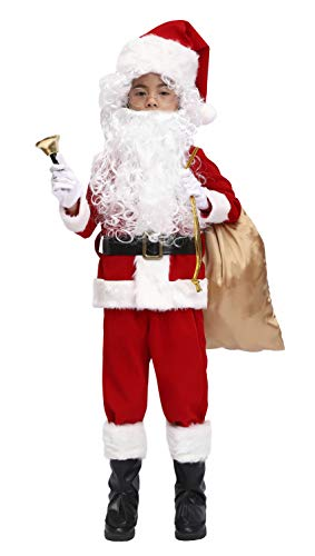 OVOV 11 Pcs Complete Santa Claus Christmas Suit Set Kids Costume for Xmas Party Cosplay (X-Large)