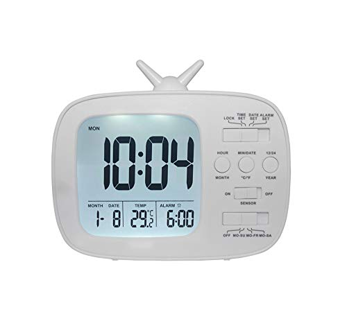 Yiwa G180 LCD-wekker voor kinderen en studenten, elektronisch, elektronisch,, Wit.