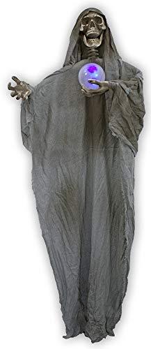 Das Kostümland Wahrsager Geist mit LED-Leuchtkugel - 170 cm - Perfekte Grusel Totenkopf Skelett Dekoration für Ihre Halloween, Day of The Dead oder Mottoparty