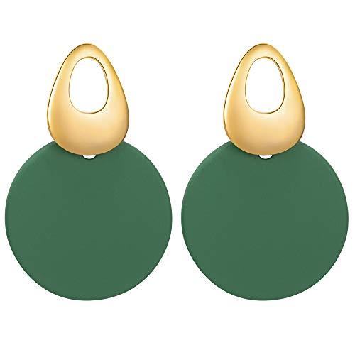 Pendientes Viennois redondos, curvados, con discos de pintura mate para mujer, joyas para regalar