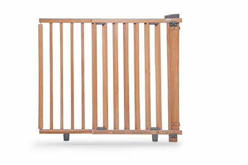 Geuther Schwenk-Türschutzgitter 2734, für Kinder, Hunde und Katzen, Befestigung in der Tür oder vor der Tür, zum bohren, Holz, natur, 86 - 133 cm, 2734-NA