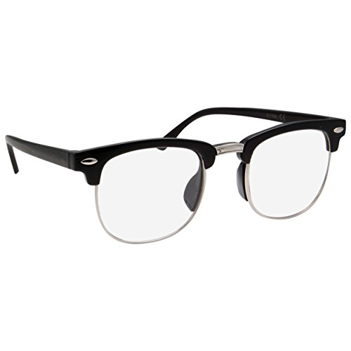 Kids Nerd Glasses Half Frame Clear Lens Geek Costume Children's (Age 3-10) Black/Silver