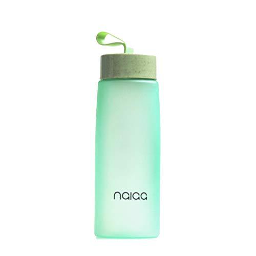 nalaa®, Botella de agua para smoothie, botella para smoothie verde, 500 ml, sin BPA, mate, tapón de rosca, para exteriores, deportes, fitness, bicicleta, camping, universidad, niños, antigoteo (verde)