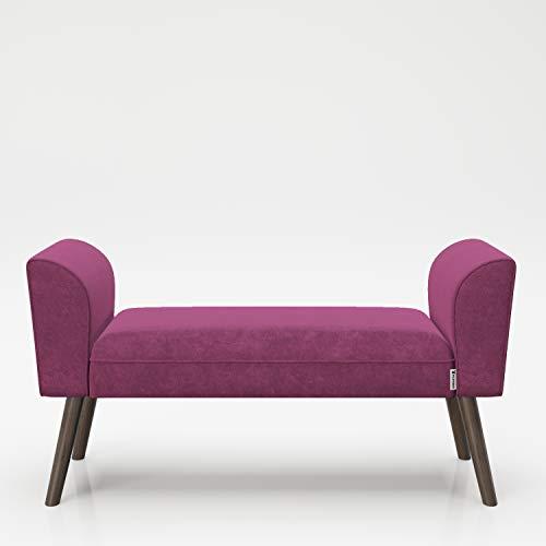 PLAYBOY Sitzbank mit Samtüberzug in Lila, Purple und stabilen Massivholzfüssen, gepolsterte Bank aus Stoff, Sitzhocker, Fusshocker mit Samt, Retro-Design, Club-Stil für Diele- und Eingangsbereich