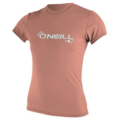 O'Neill Wetsuits Women's Basic Skins Short Sleeve Sun Shirt Rash Vest, Light Grapefruit, XL