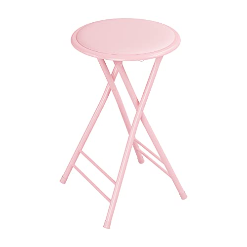 Trademark Home Folding Stool – Heavy Duty 24-Inch Collapsible Padded Round Stool with 300 Pound Capacity for Dorm, Pink