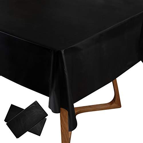 2pz (137x274cm) Tovaglie Plastificata Rettangolare Impermeabile Copritavolo Antimacchia per Tavolo Decorazione per Festa Laurea Compleanno Natalizia Casa Cucina Cena Party Tavola (Nero)