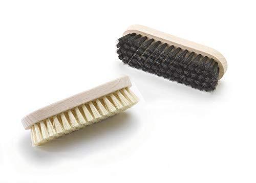 Tadabo 2 x kleine Schuhbürste mit kräftigen synthetischen Borsten (hell und schwarz)