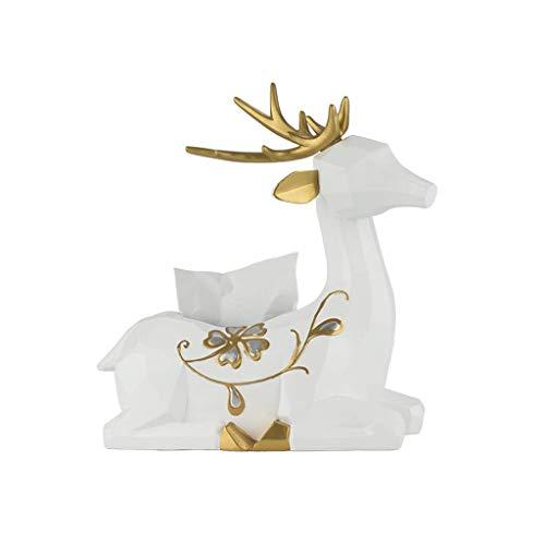 Equipo diario Sala de estar nórdica Mesa de centro Caja de pañuelos Caja de papel de ciervo lindo Decoración Caja de almacenamiento de toallas de papel de comedor en casa 28x15x33cm (Color: Negro)