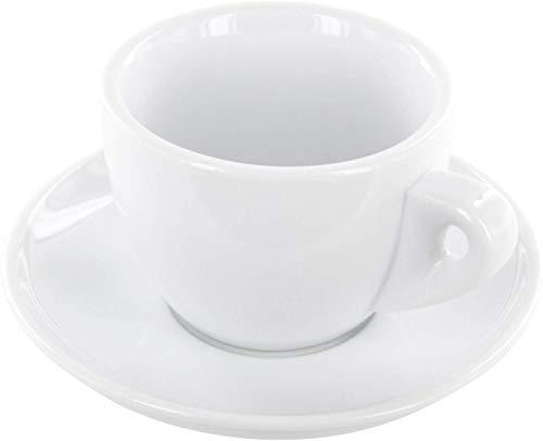 Luxpresso Dickwandige Cappuccinotassen weiß aus Porzellan, im italienisches Design, 6 Stück im Set
