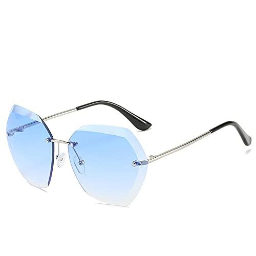 qiufeng Gafas de Sol sin Montura de Gran tamaño de Moda Vintage para Mujer, diseño de Marca de Lujo Famoso, Gafas de Sol cuadradas con Diamantes Sexis para Mujer, Plateado-Azul