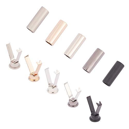PandaHall 30 Set 5 Colori Punte per Lacci in Lega Testa e Corde per Lacci in Lega Punte di Ricambio per puntali in Metallo per riparazioni Fai-da-Te e Progettazione