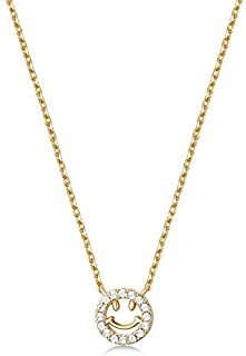 Mestige Women Brass Smiley Necklace, 41 cm - MSNE3833 (Gold)