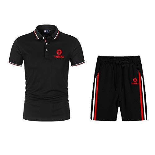 Dawnc Polos Hombre Sets para Ya.m-a.ha Manga Corta Camiseta Pantalones con Botones, Respirable, para Deporte y Oficina T-Shirt (XS,Black)