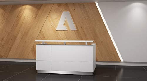 GW Furniture Modern Gloss White Reception Desk