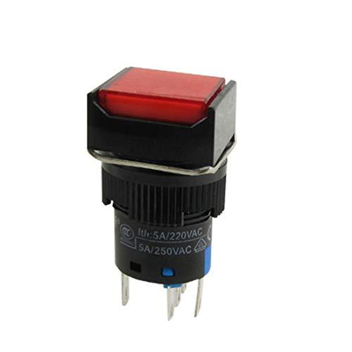 New Lon0167 AC 250V Destacados 5 pines tipo eficacia confiable - Interruptor de botón pulsador de lámpara roja(id:5d3 a9 90 8bc)