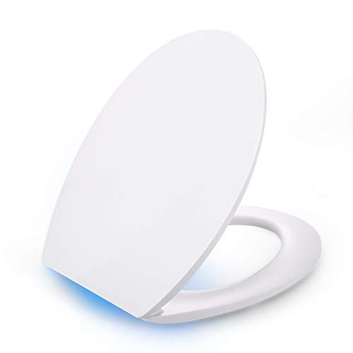 Dalmo Toilettendeckel mit LED Beleuchtung, WC Sitz Klassisch Oval, antibakteriell mit Absenkautomatik, abnehmbar, Duroplast WC Deckel & Klo Brille