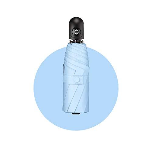 Sonnenschirm, Sonnenschutz UV-Schutz Automatik 50% Sonnenschirm Kleine tragbare Schwarze Kunststoff-Sonnencreme Regenschirm Regen und Regen (Farbe : Blau, größe : Five fold)